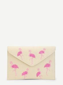 Flamingo Pattern Woven Clutch Bag