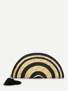 Tassel Embellished Zipper Clutch Bag