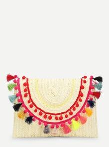 Tassel & Pom Pom Decorated Straw Bag