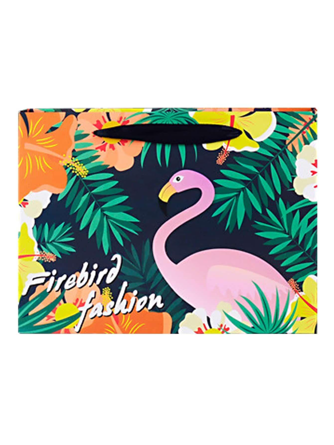 Flamingo & Tropical Print Large Paper Bag