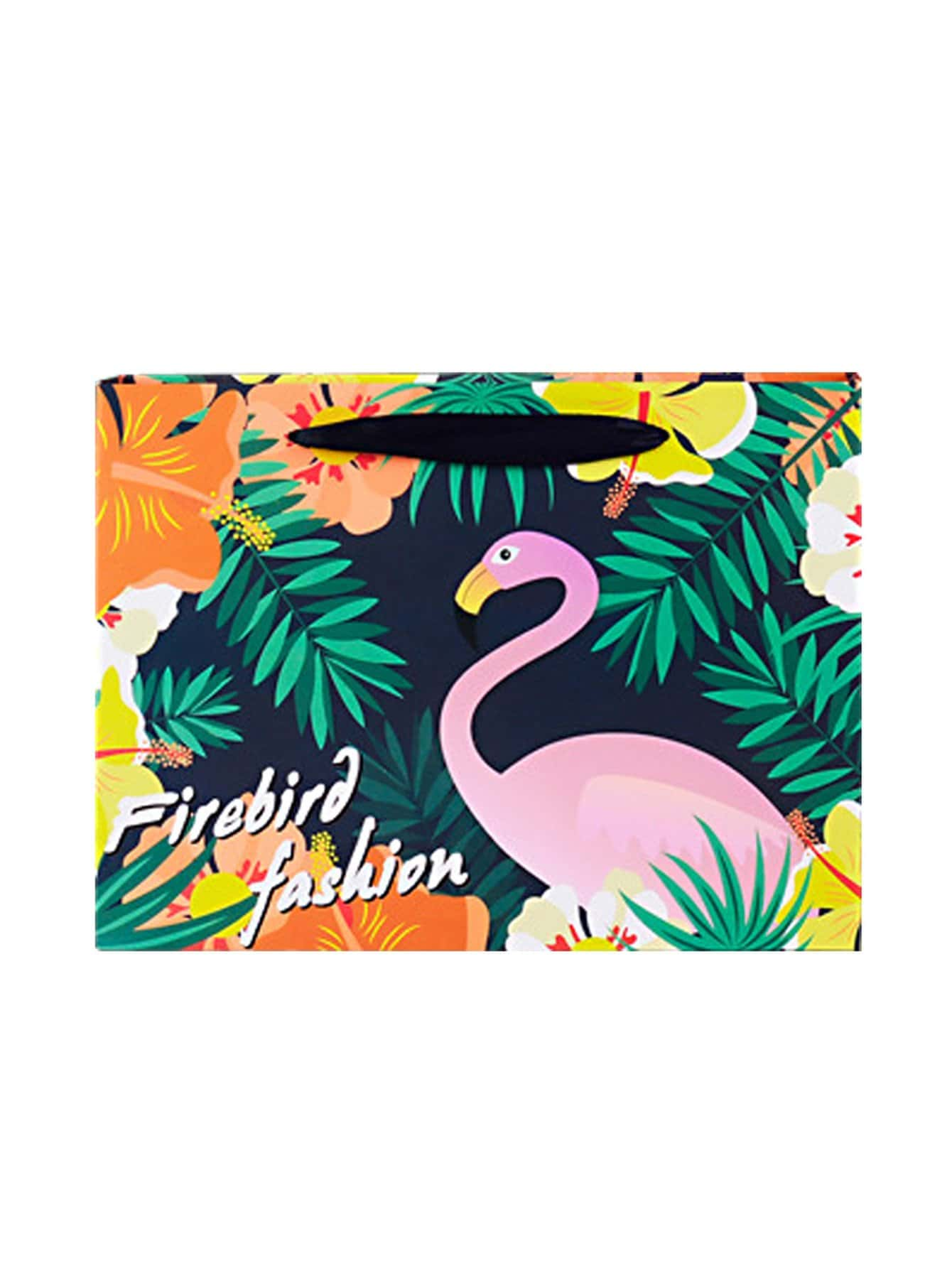 Flamingo & Tropical Print Medium Paper Bag