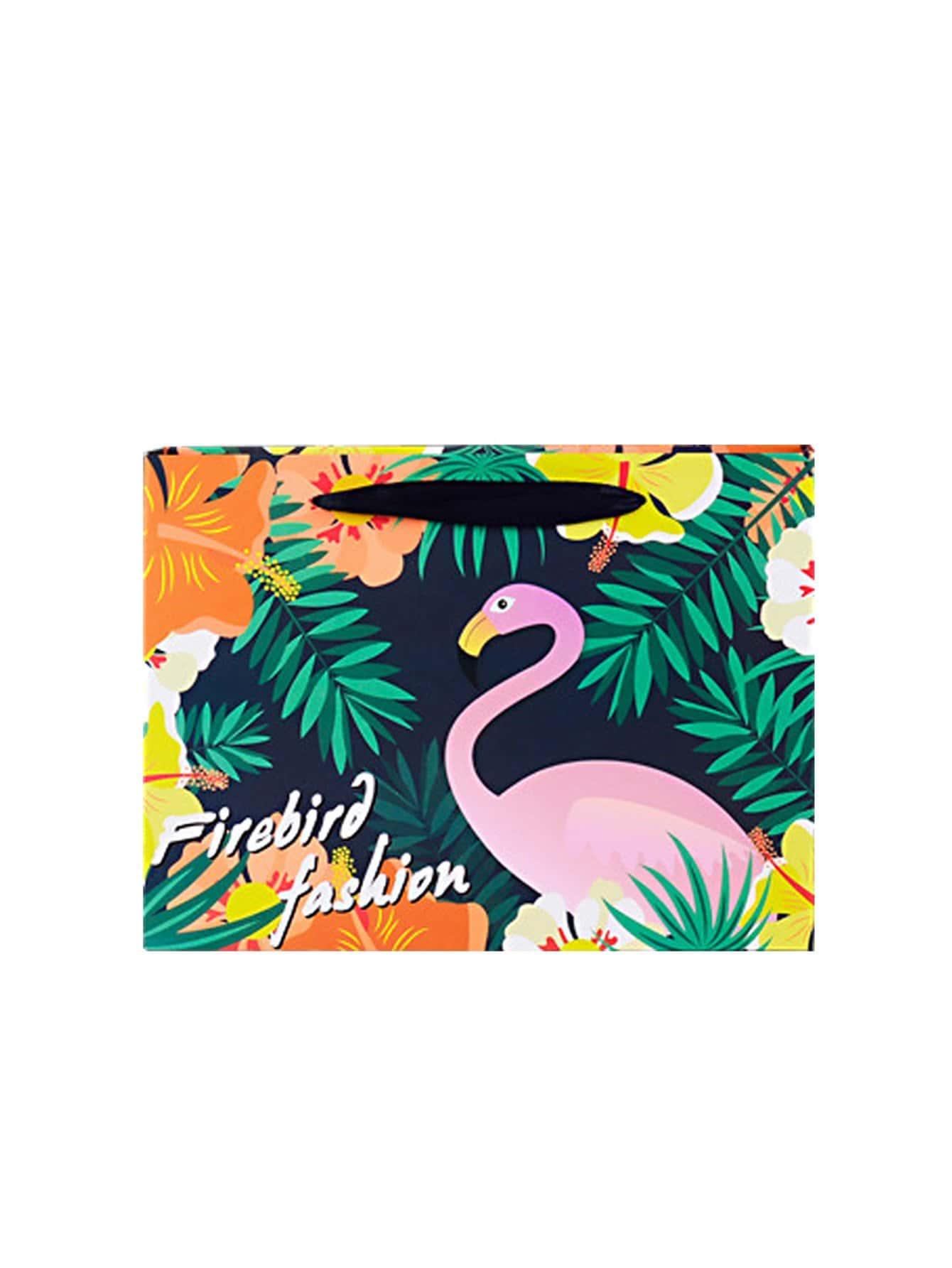 Flamingo & Tropical Print Small Paper Bag