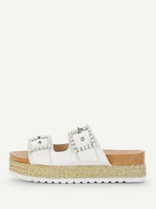 Faux Pearl Espadrille Flatform Sandals
