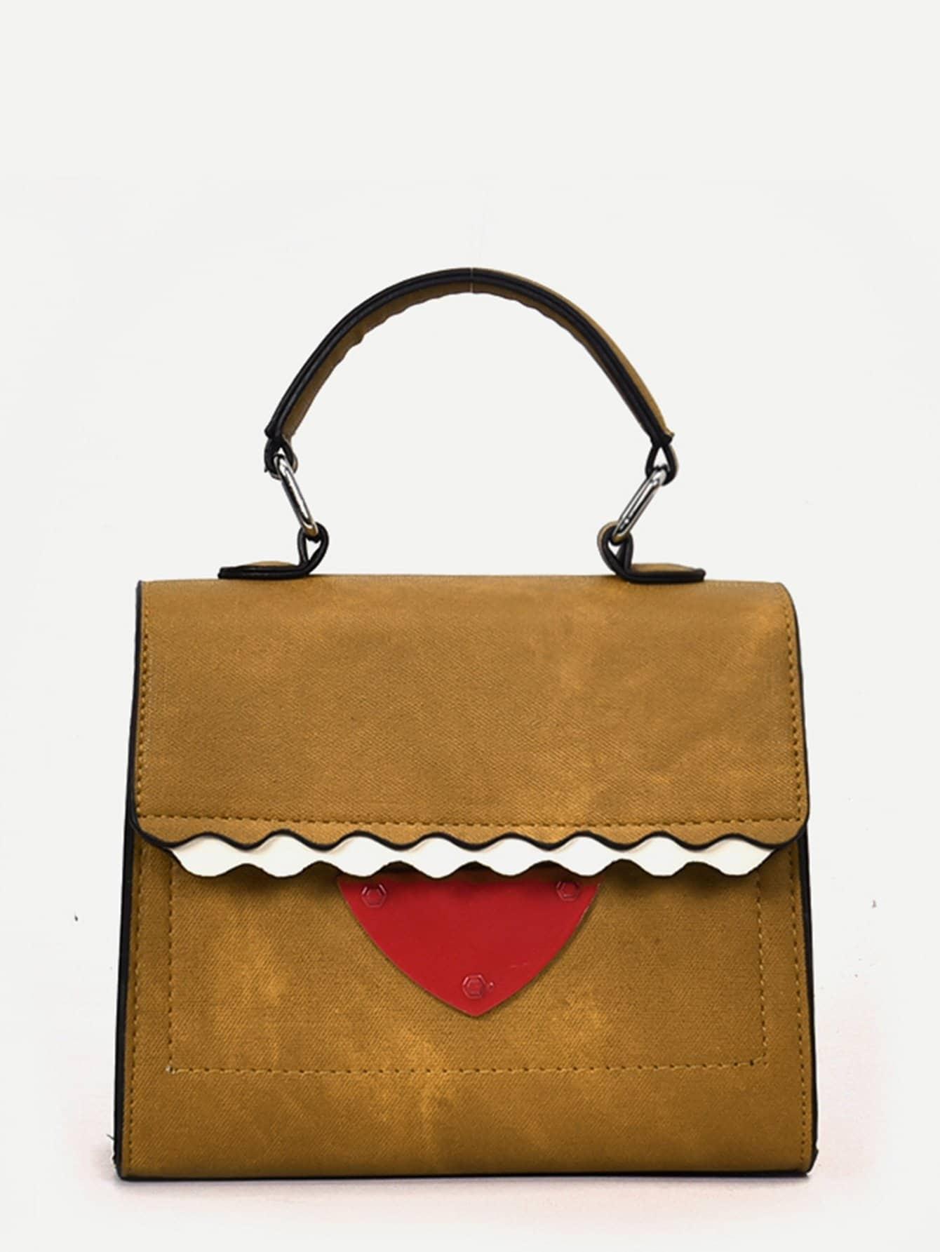 Scalloped Detail Flap Grab Bag buckle detail flap grab bag