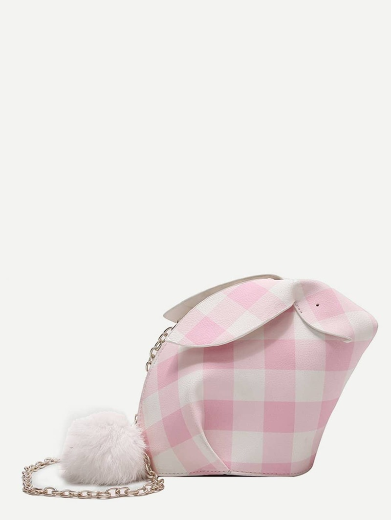 Pom Pom Decor Rabbit Design Chain Bag, Pink