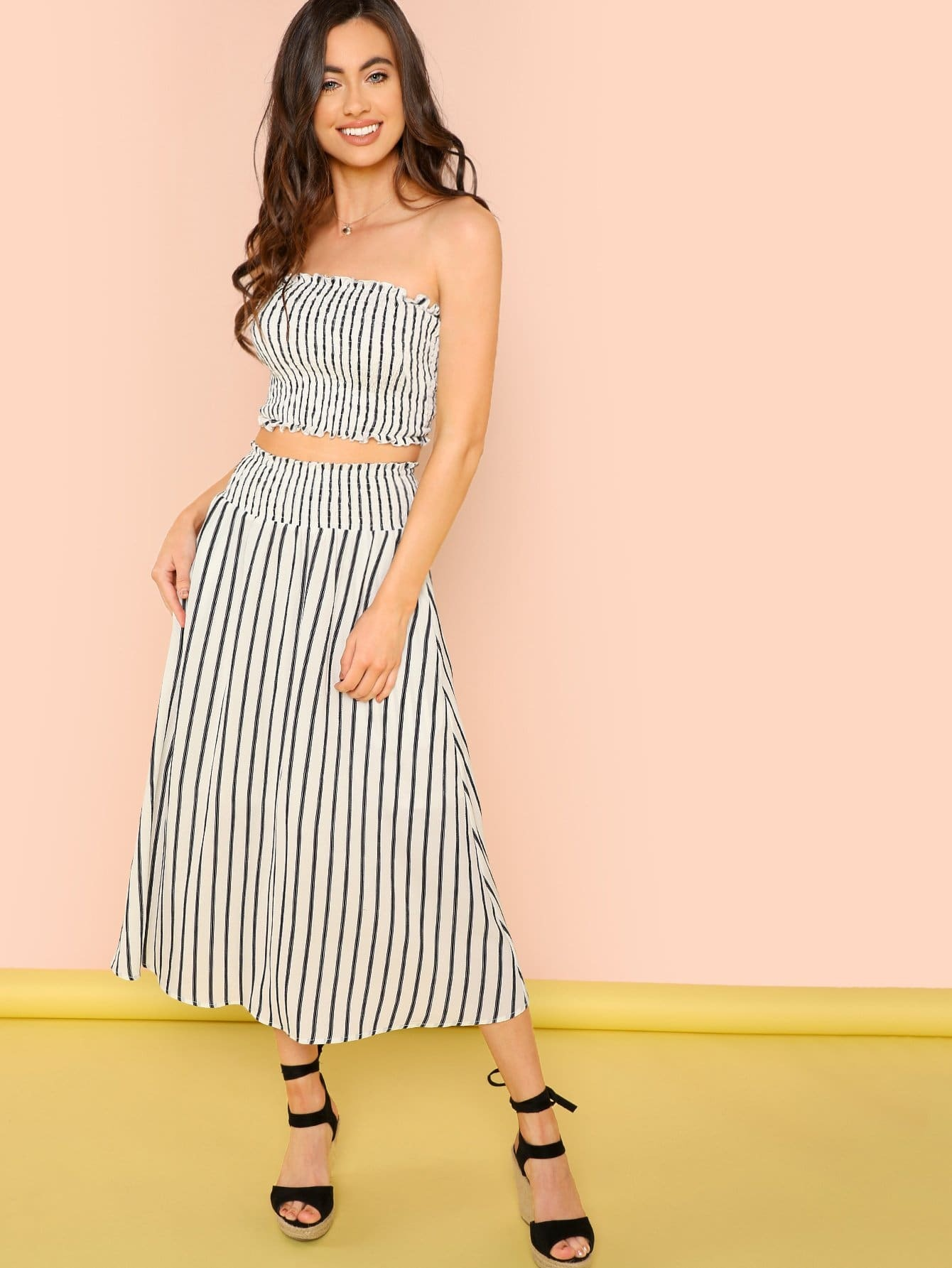 Striped Frill Trim Bandeau Top & Flare Skirt Set 2018 new casual dress sleeveless ruffles top striped skirt suit knitted sweater button two piece women s set party dresses