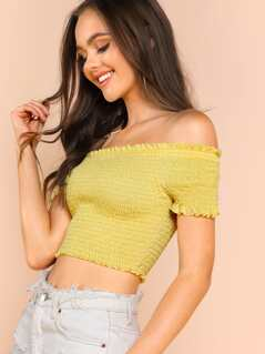 Frill Trim Smock Bardot Crop Top