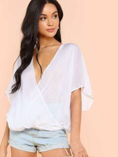 Draped Wrap Front Batwing Top