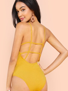 Cut Out Open Back Fitted Cami Bodysuit