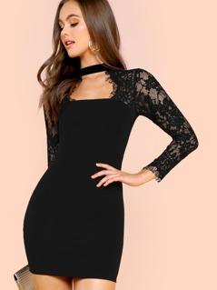 Eyelash Lace Sleeve Choker Neck Bodycon Dress