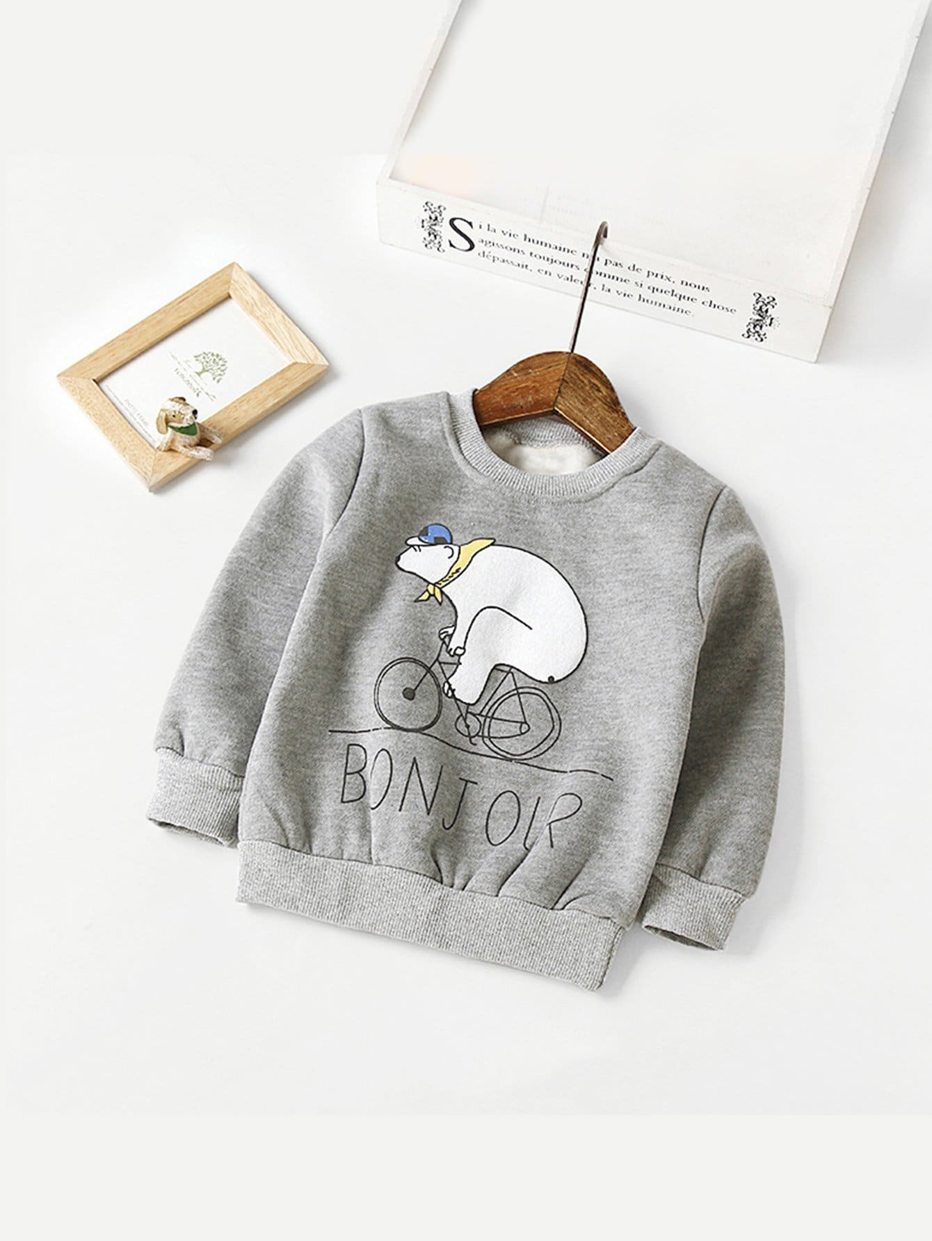 Girls Cartoon And Letter Print Sweatshirt