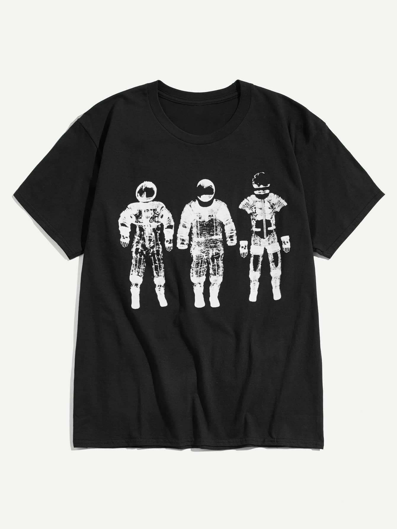 Купить Футболка с рисунком космонавта для мужчины, null, SheIn