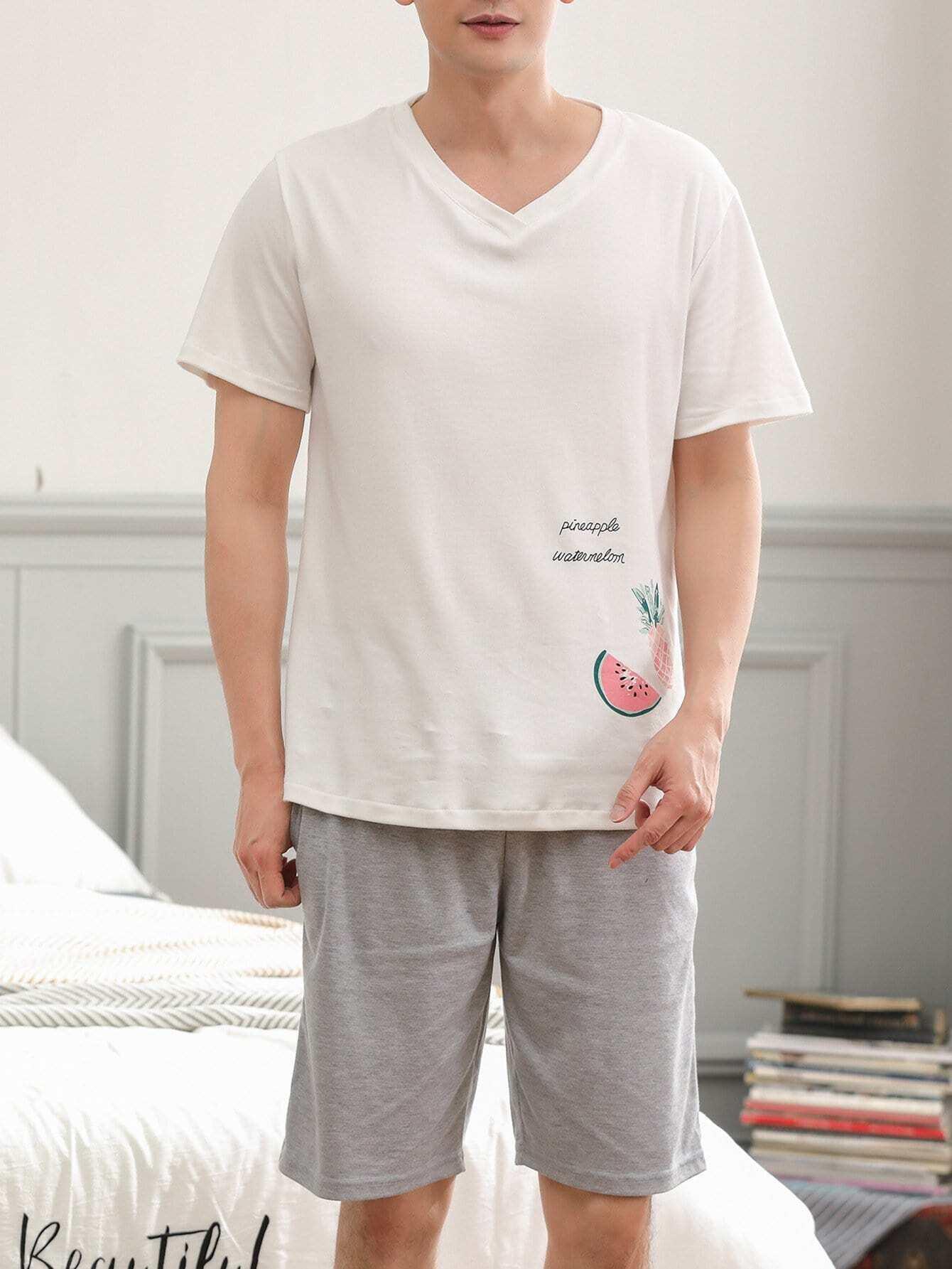 Men Fruit & Letter Print Pajama Set