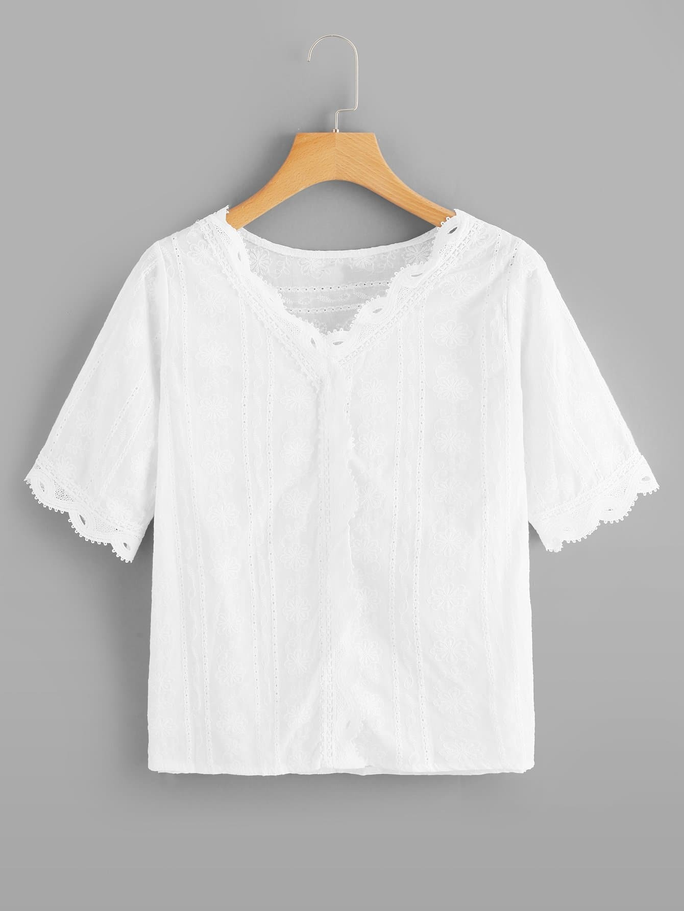 Lace Panel Trim Embroidery Top