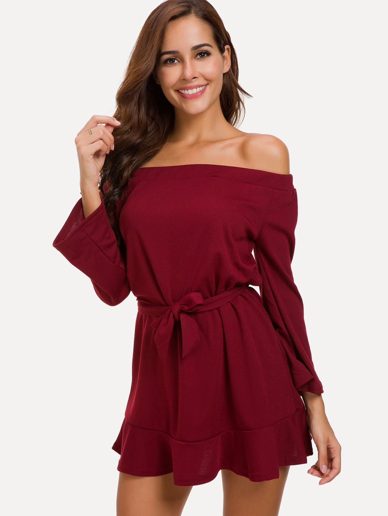 Tie Waist Off Shoulder Solid Dress