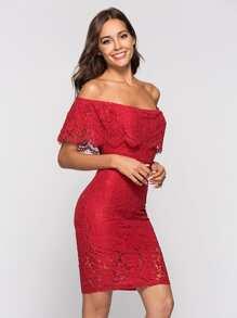 Lace Off Shoulder Hollow Out Dress