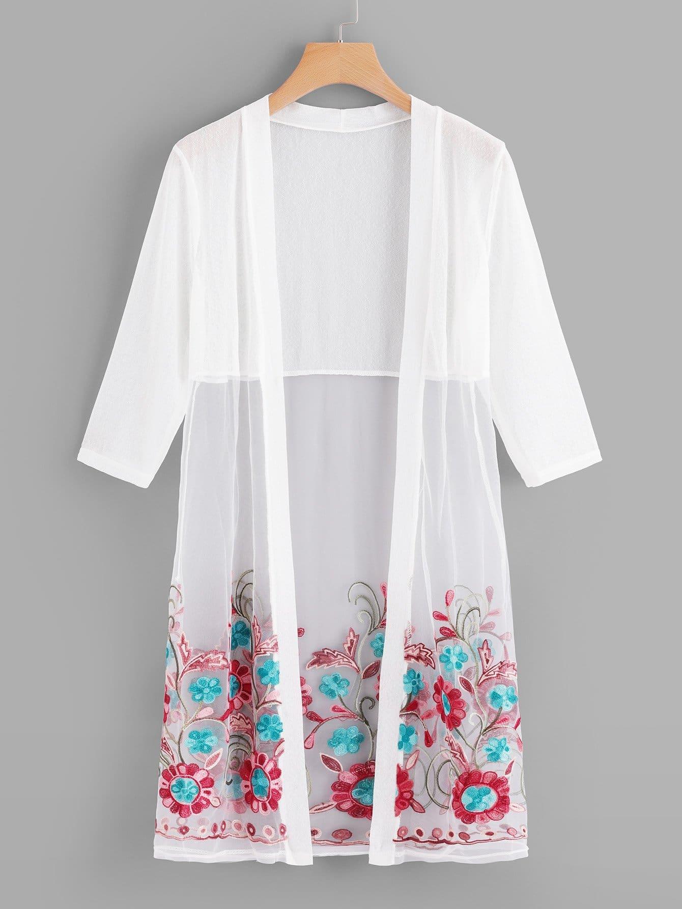 Sheer Mesh Floral Embroidered Kimono