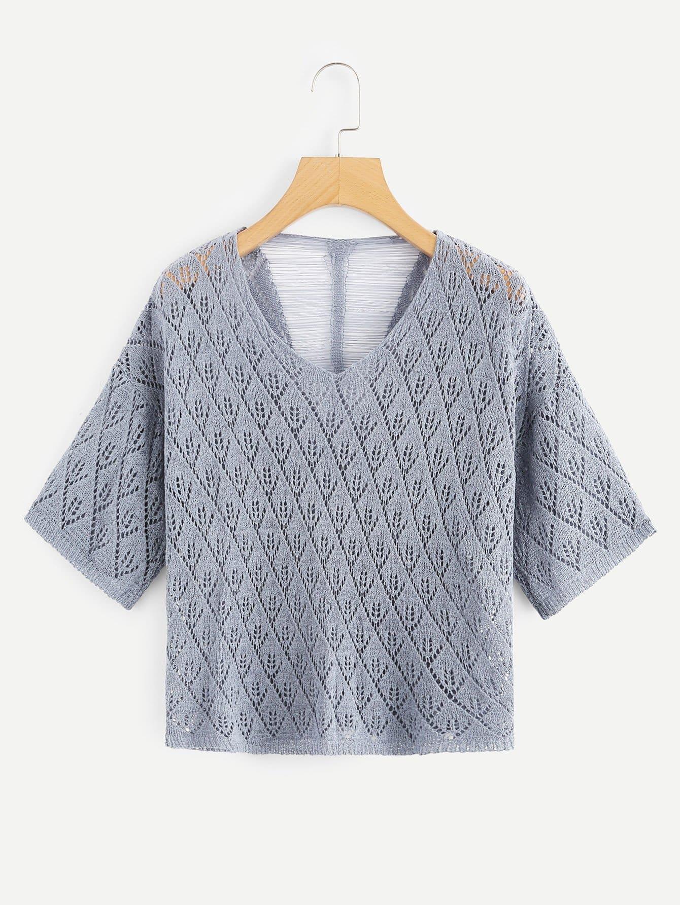 Pullover mit sehr tief angesetzter Schulterpartie und geripptem Rücken
