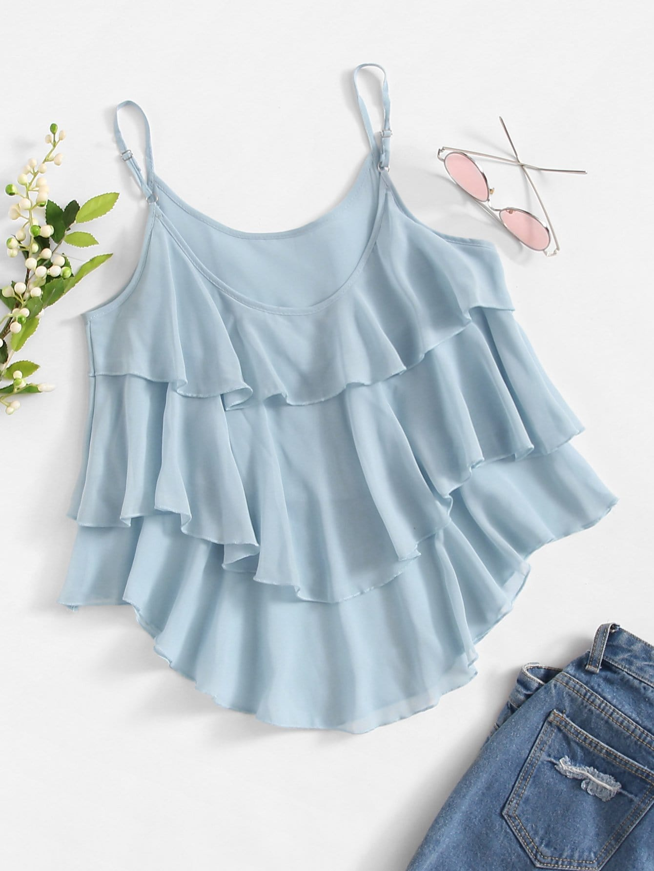 Asymmetrical Tiered Cami Top