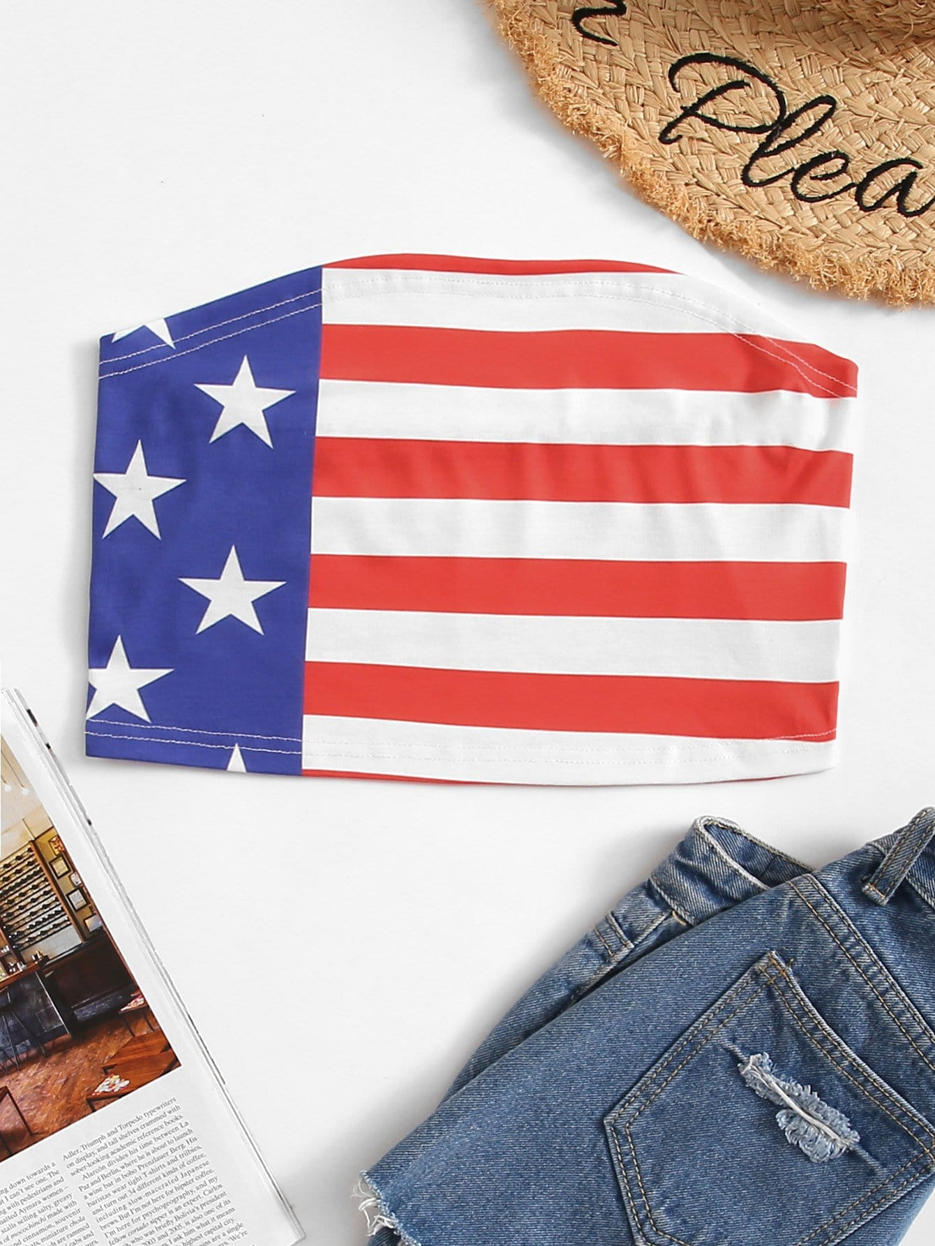 Tube Top mit amerikanischem Flaggemuster