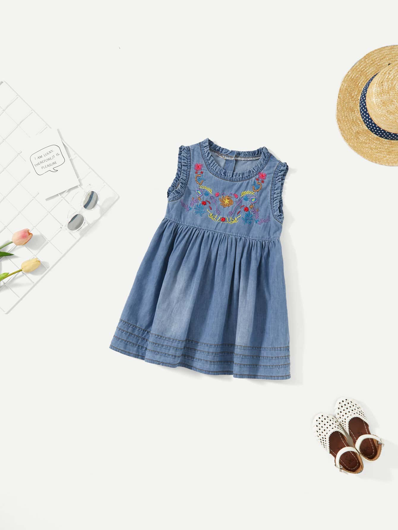 Girls Floral Embroidery Frill Trim Dress