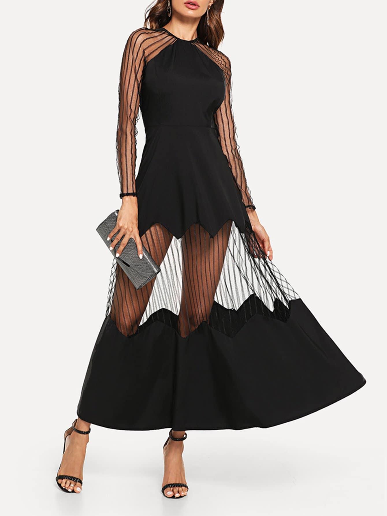 Купить Элегантный стиль Одноцветный Контрастная сетка Чёрные Платья, Andy, SheIn
