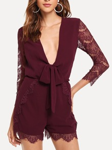 Lace Panel Knot Front Jumpsuit