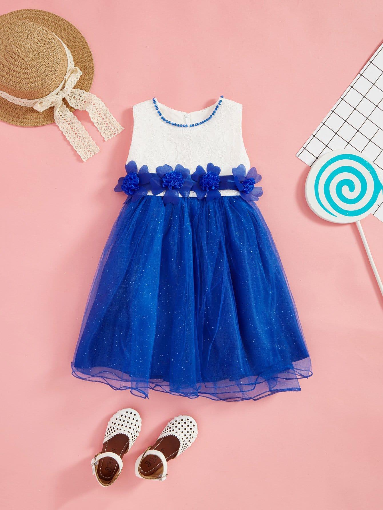 Купить Бальное платье с прозрачными вставками с вышивкой кружева и с украшениями цветы для детей, null, SheIn