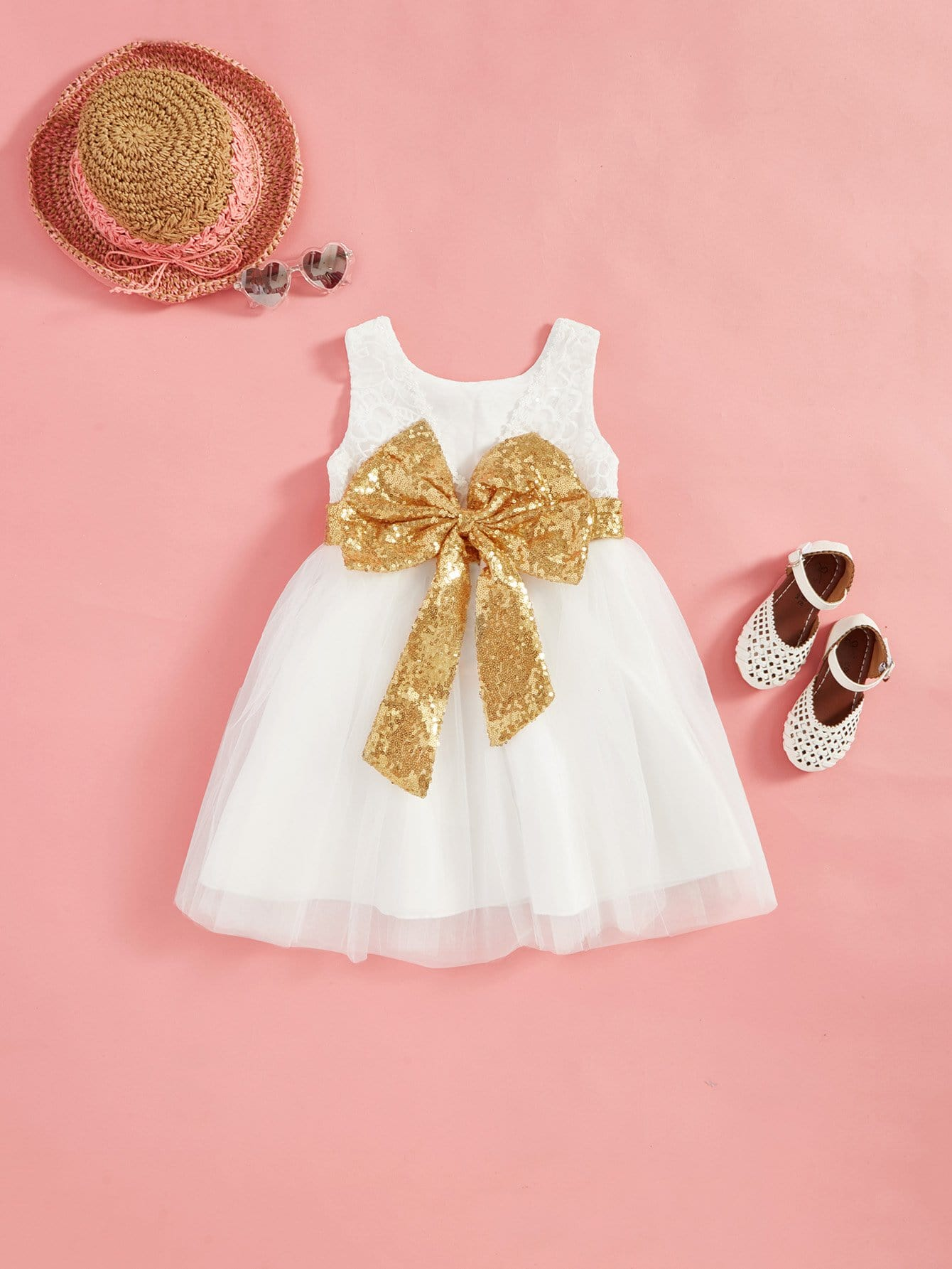 Girls Sequin Embroidered Bow Tie Tiered Mesh Ball Gown