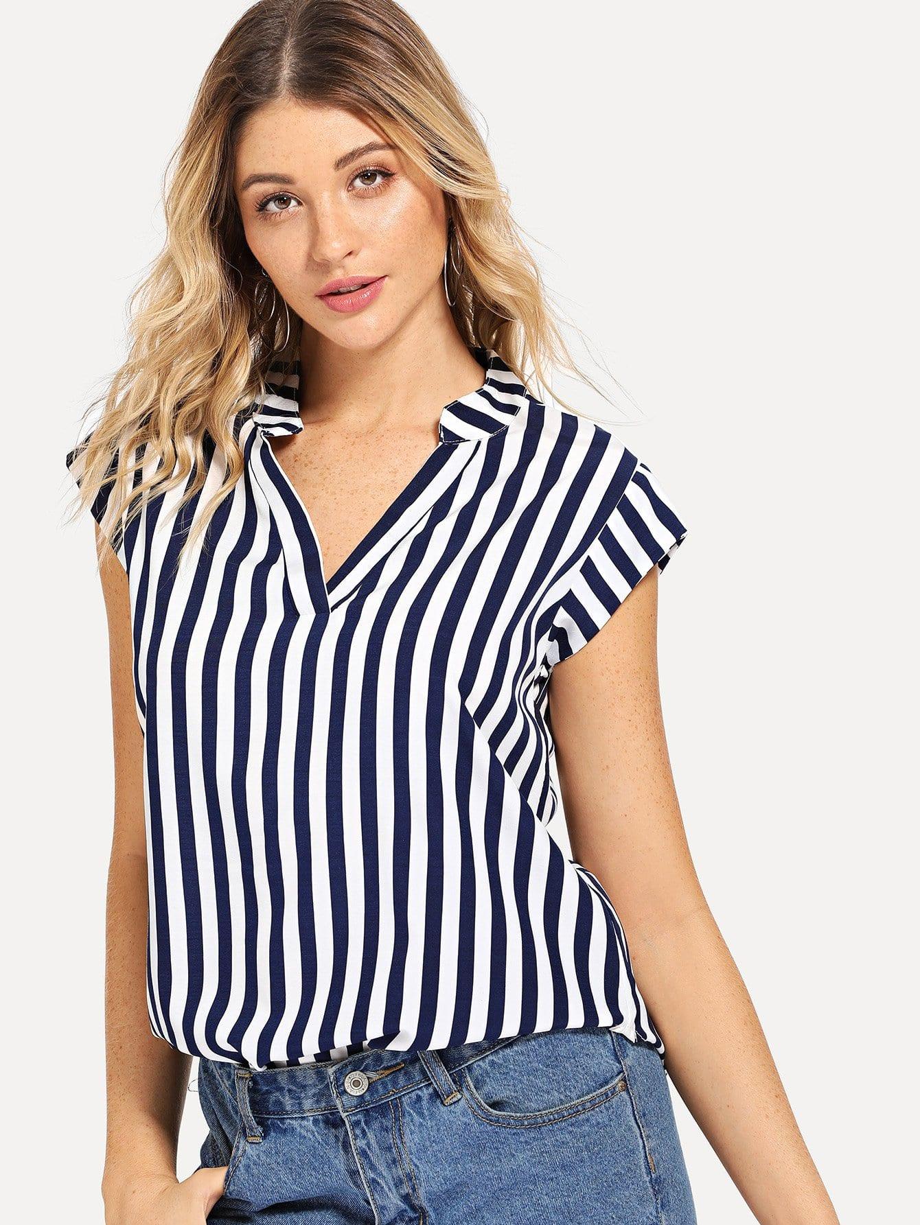 Купить Полосатая рубашка и с V-образным вырезом, Nathane, SheIn