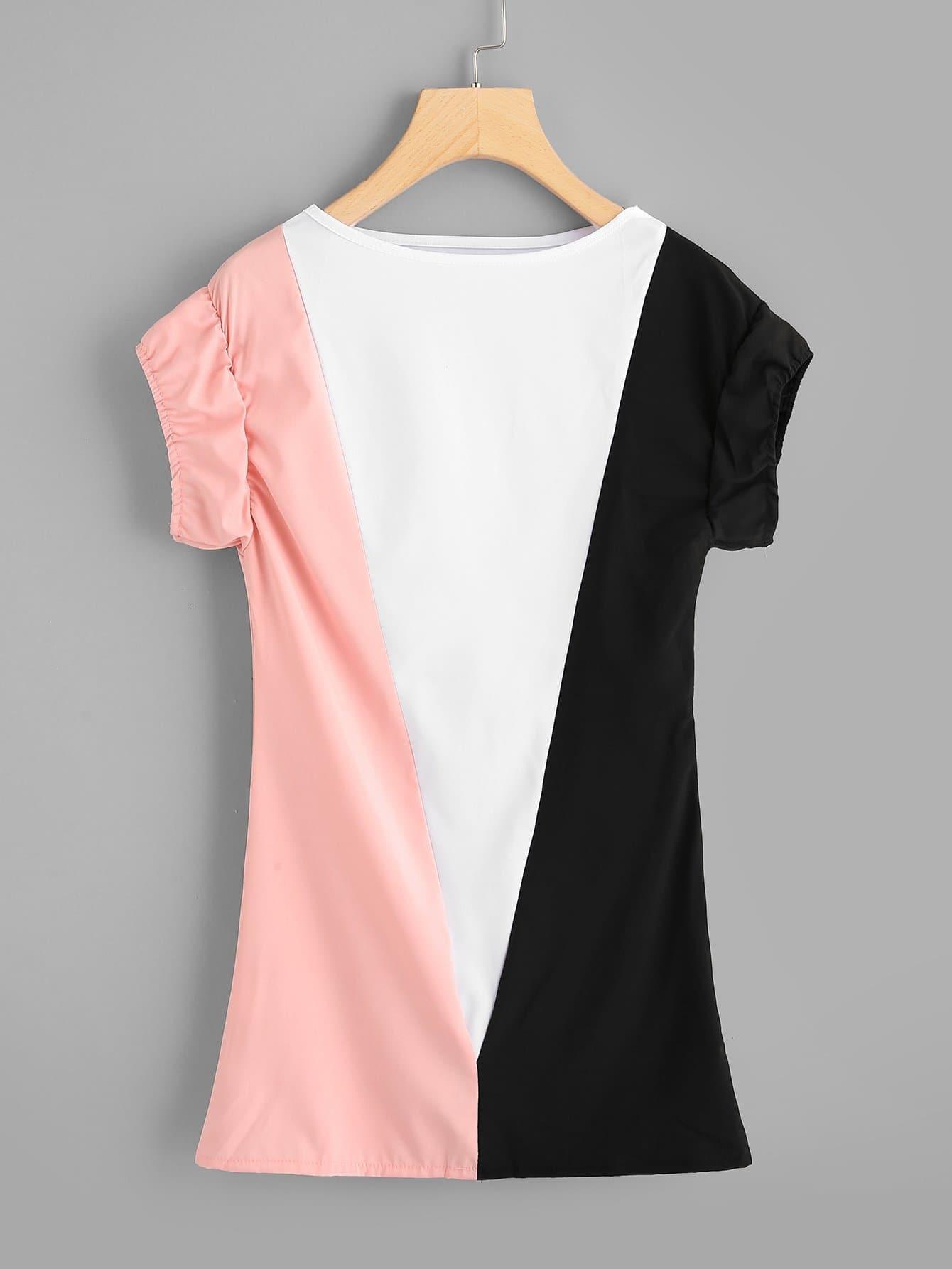 Купить Цветная кусковая рубашка и с воротником лодки, null, SheIn