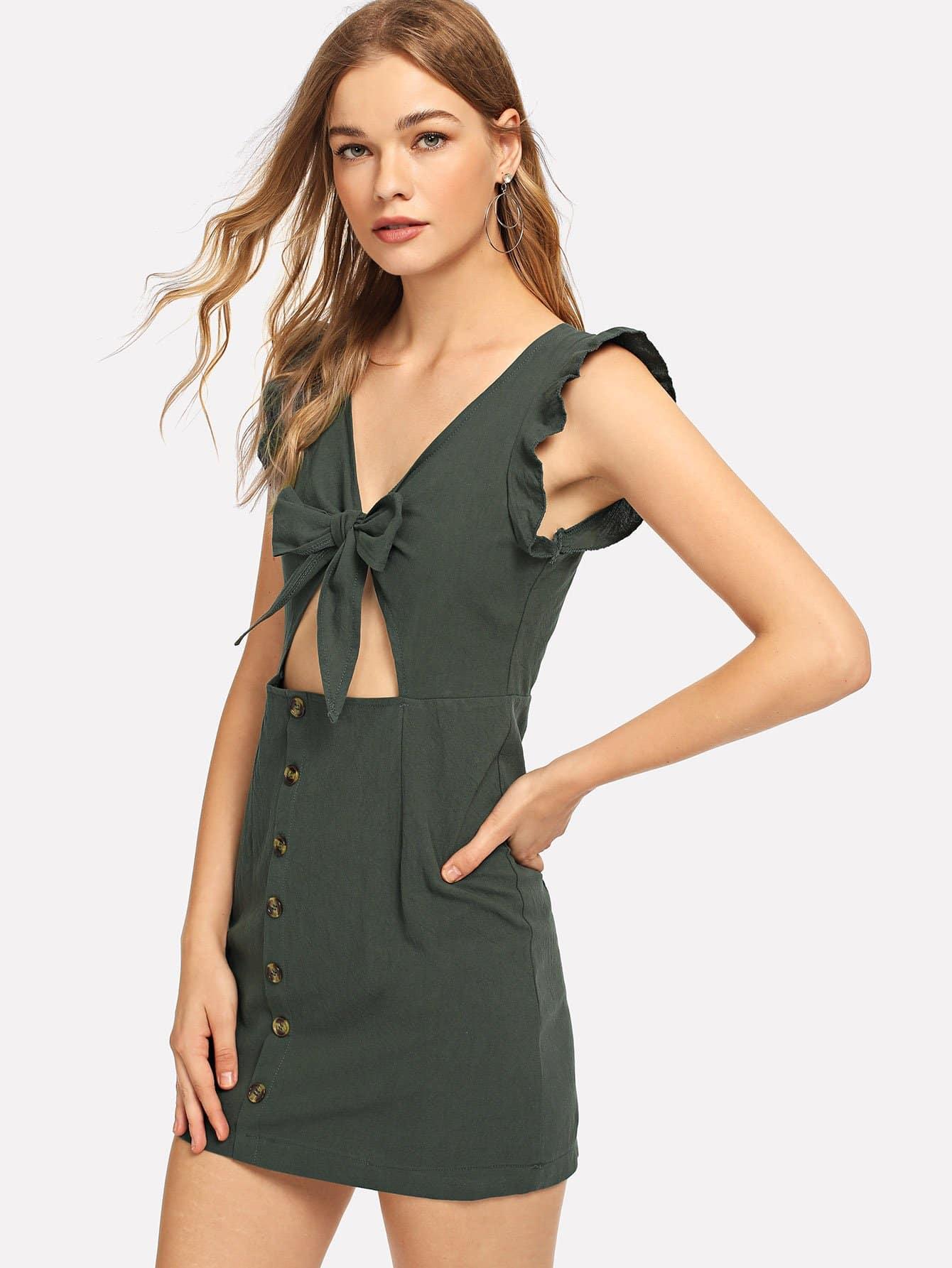 Купить Однобортное платье с кружевными оборками и кройками, Teresa, SheIn