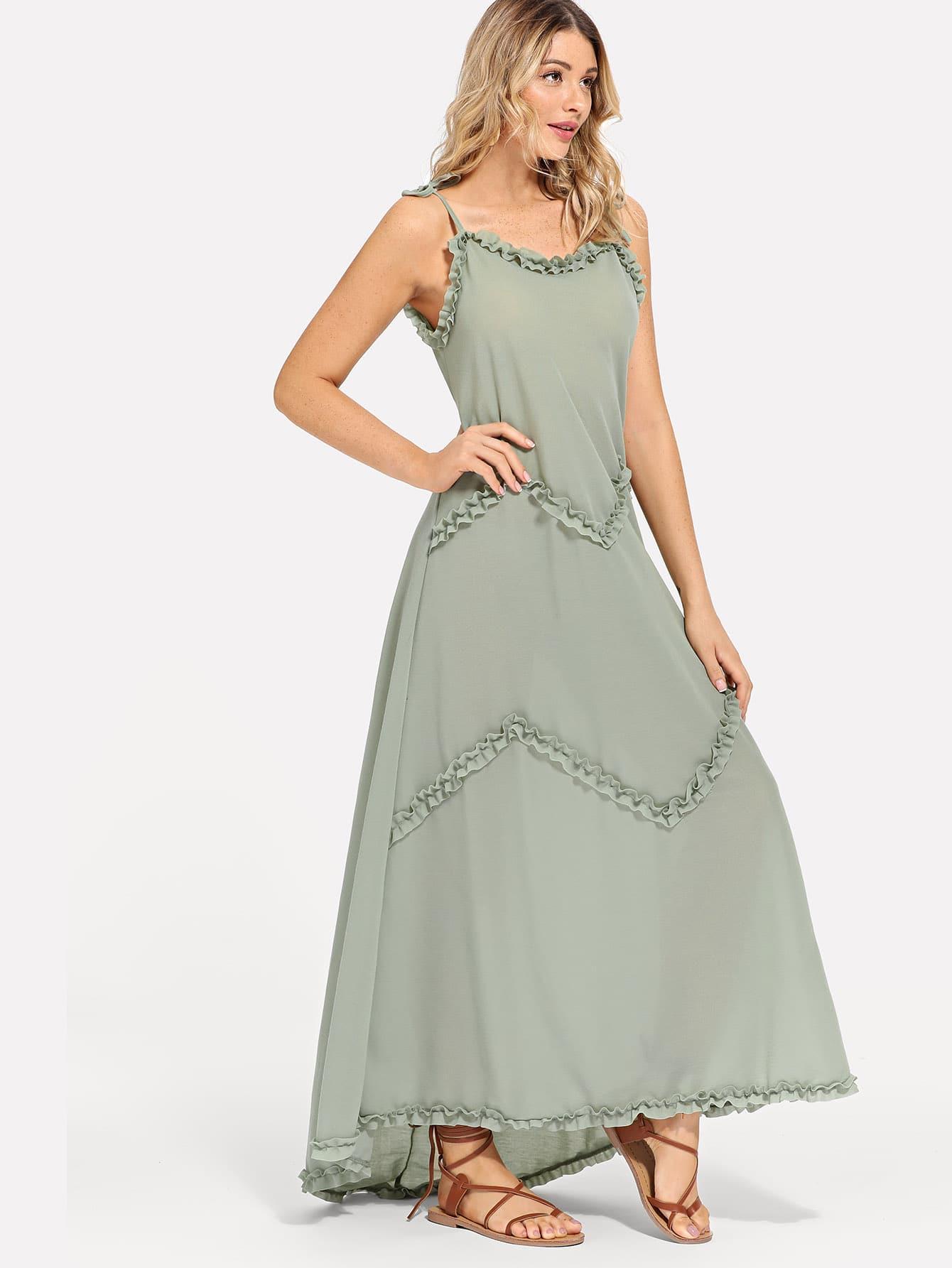 Купить Платье на бретелях и с кружевными оборками, Nathane, SheIn