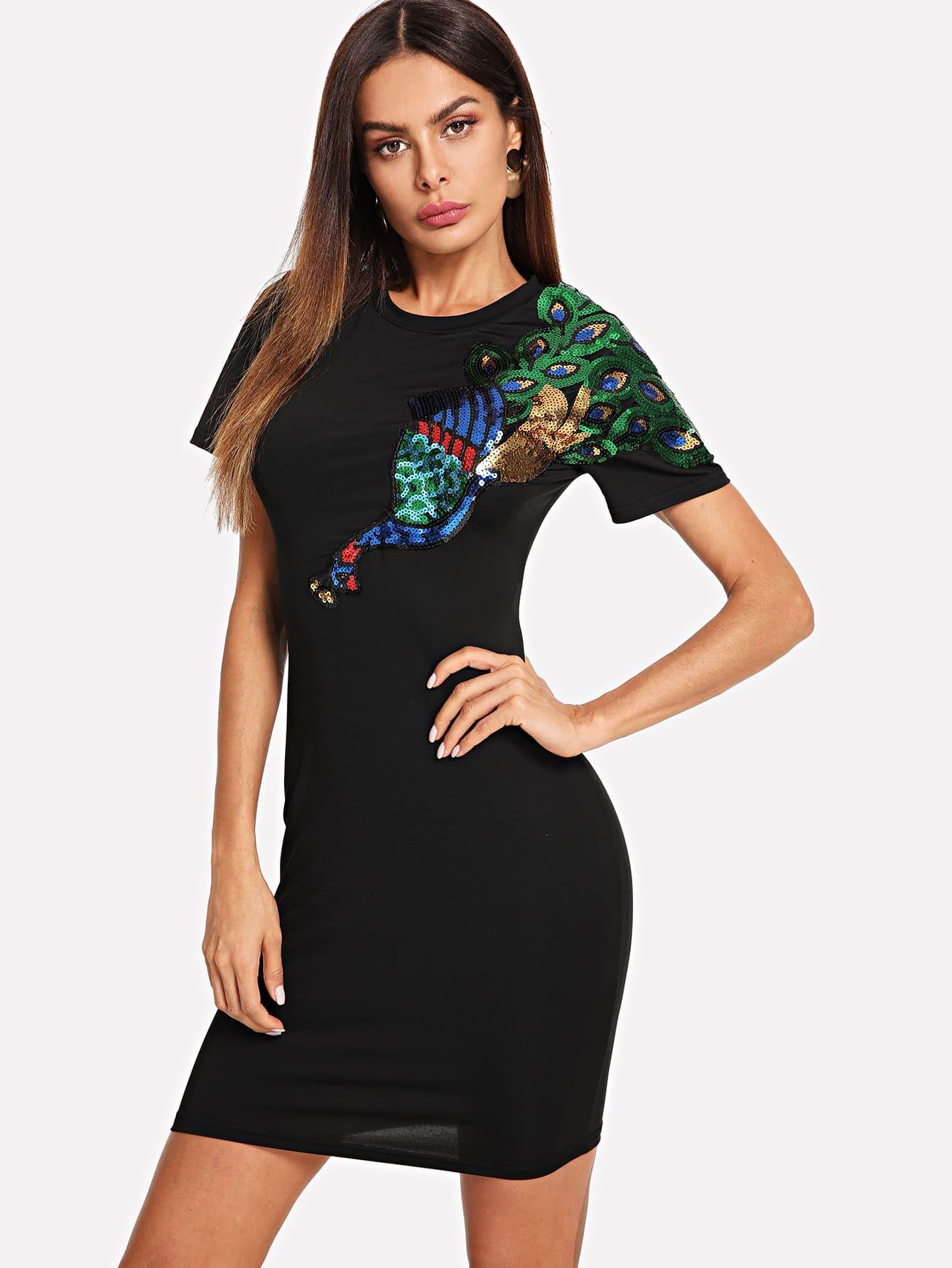 Купить Платье с круглым воротником и со симметрическими фольгами, Andy, SheIn