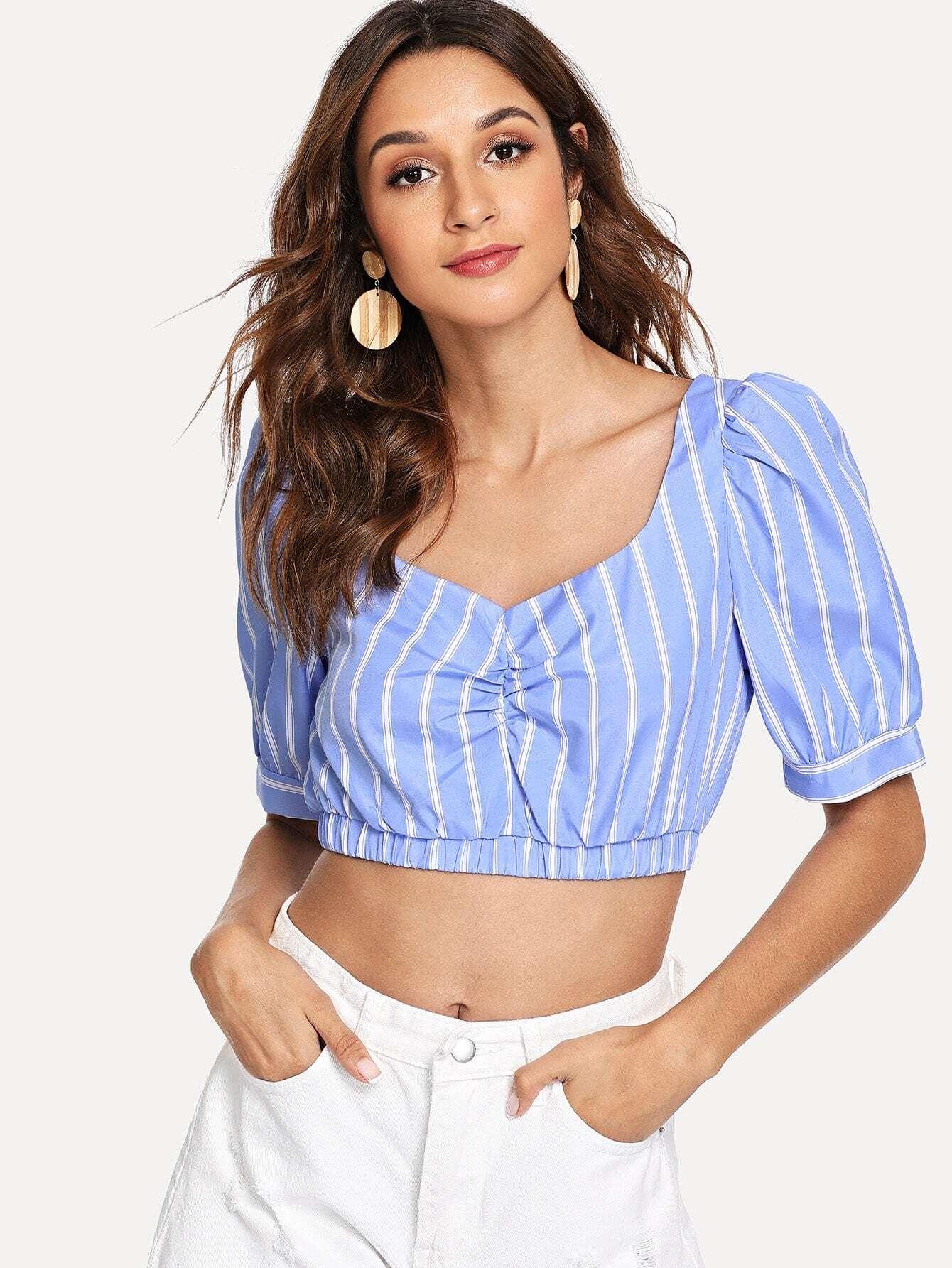 Купить Глубокая V-полосатая полосатая блузка, Gabi B, SheIn