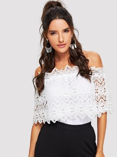 Lace Embroidered Appliques Solid Top