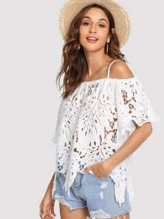 Cutout Lace Leaf Cami Top
