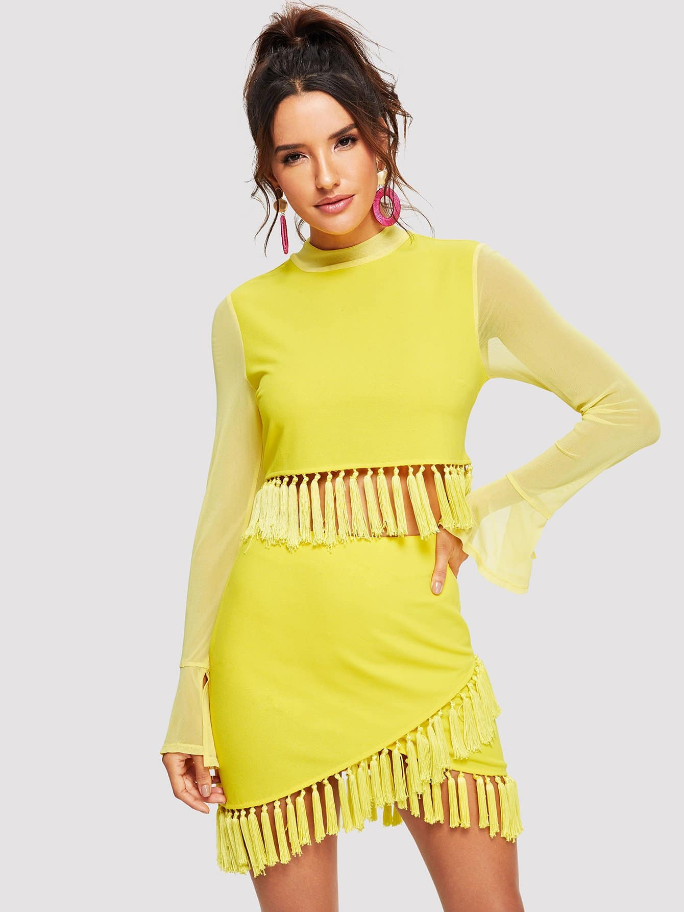 Tessel Mock Neck Bell Sleeve Solid Top