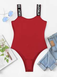 Slim Fitted Bodysuit With Letter Strap