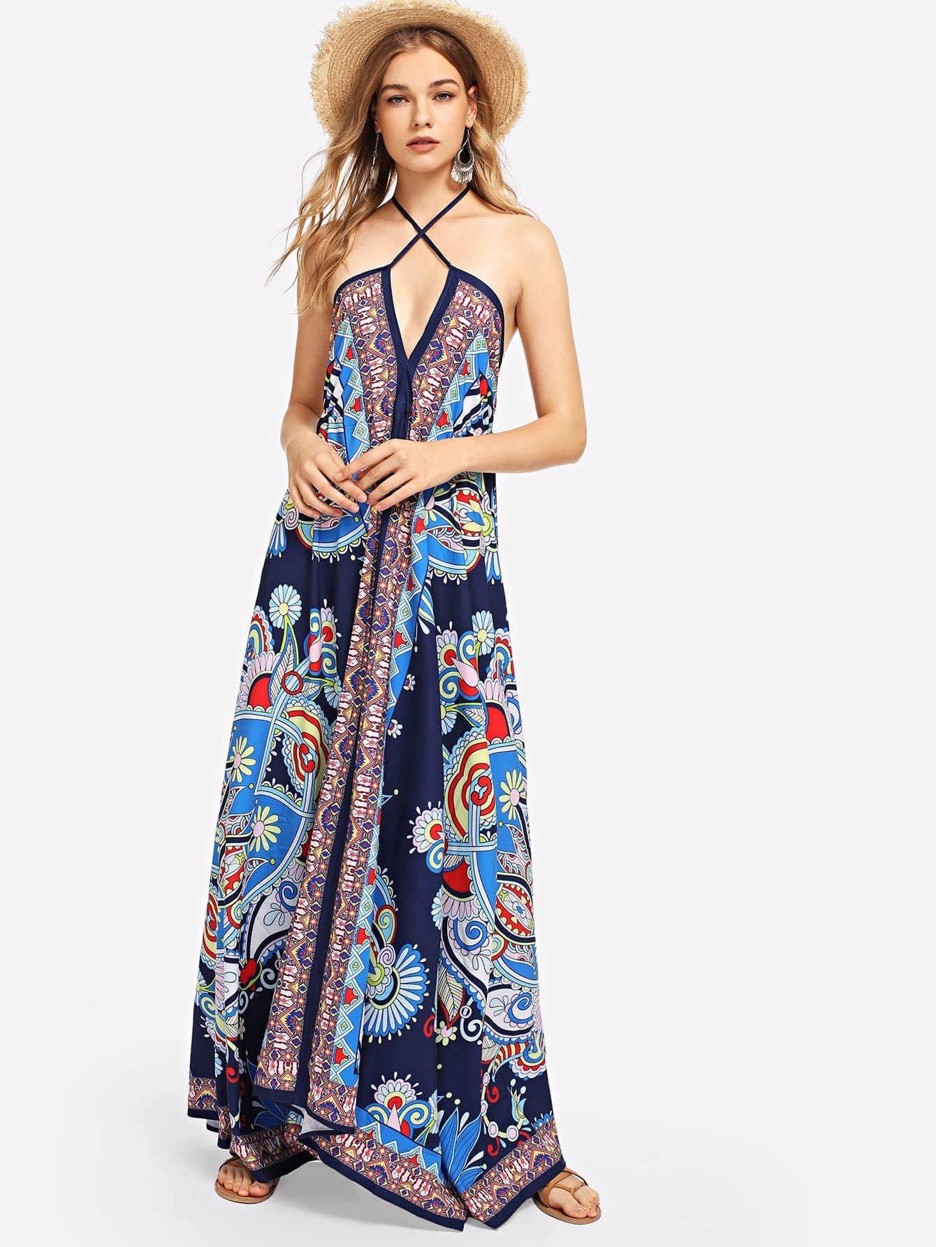 Hanky Hem Tent Dress abstract print hanky hem cami dress