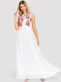 Flower Embroidered Sleeveless Maxi Dress