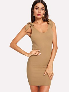 Self Tie Shoulder Ribbed Dress