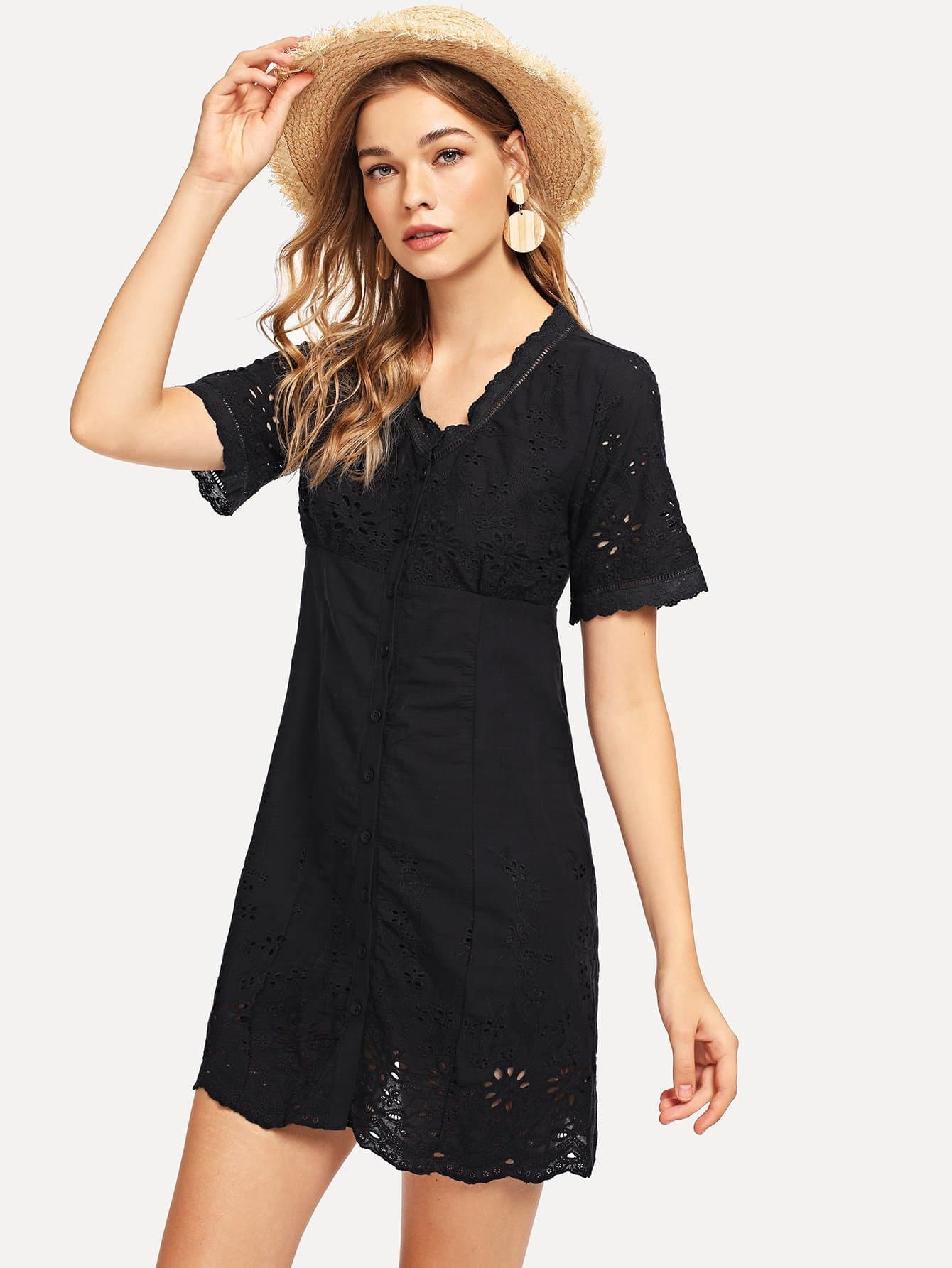 Laddering Lace Detail Eyelet Embroidered Button Up Dress strappy dress with lace up detail