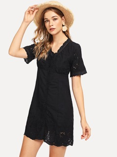 Laddering Lace Detail Eyelet Embroidered Button Up Dress