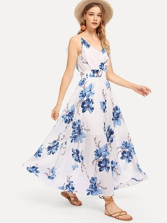 Shirred Waist Floral Halter Dress