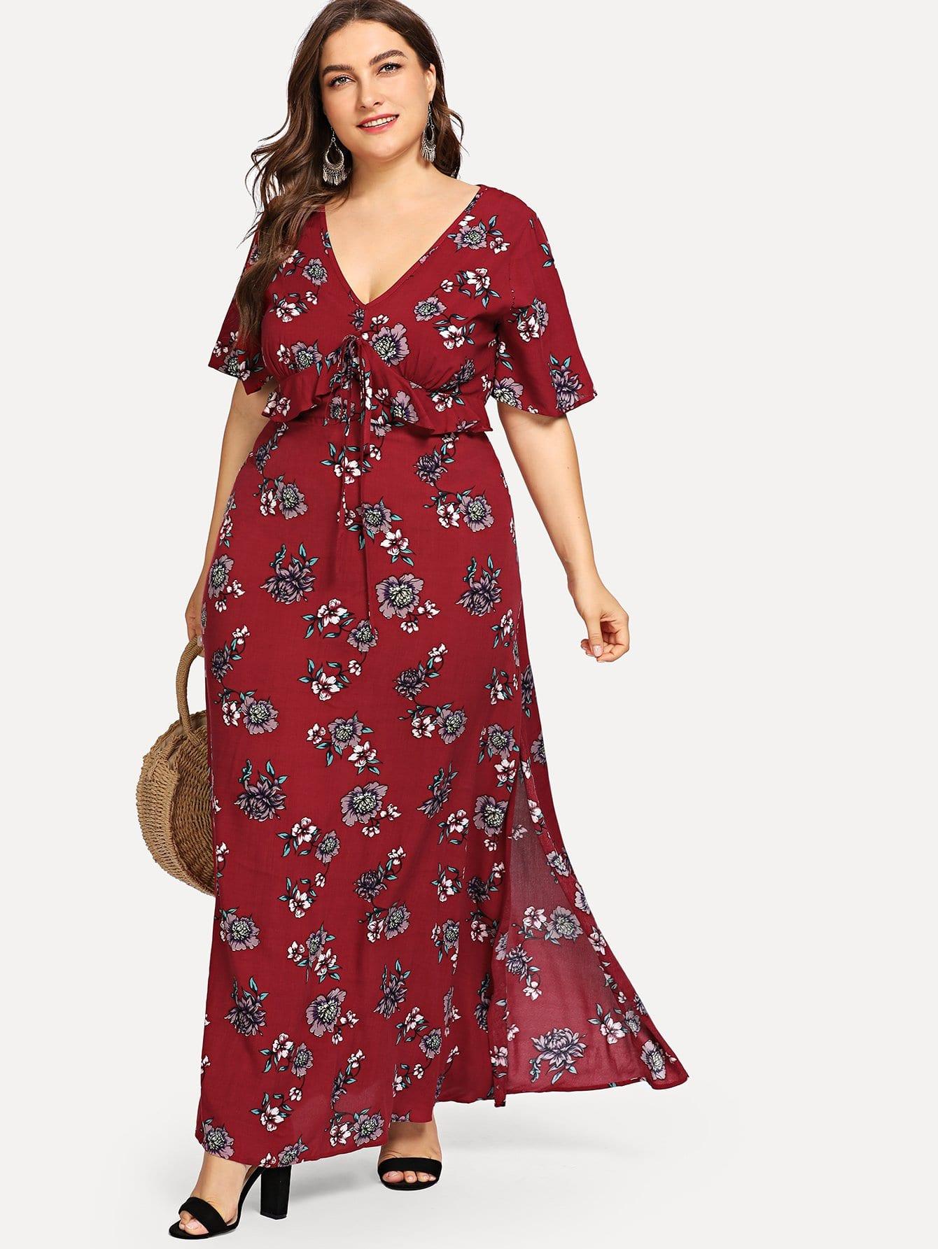 Купить Ботаническое платье с вырезанными ботинками, Franziska, SheIn