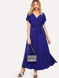 Rolled Sleeve Self Belted Wrap Dress