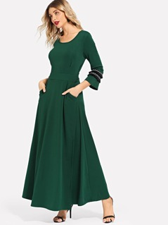 Fringe Applique Round Neck Dress