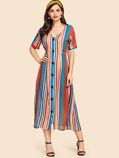 Button Up Rainbow Striped Dress