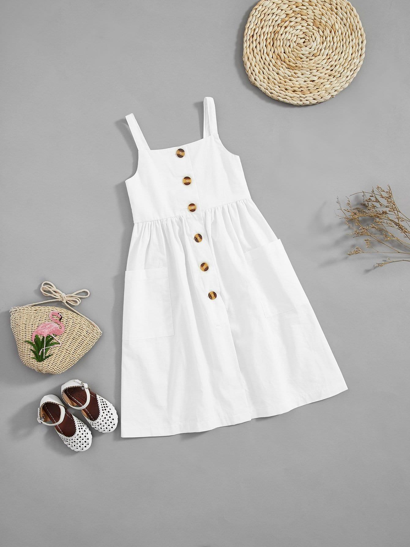 Купить Платье с украшением с пуговиц для девочки, null, SheIn